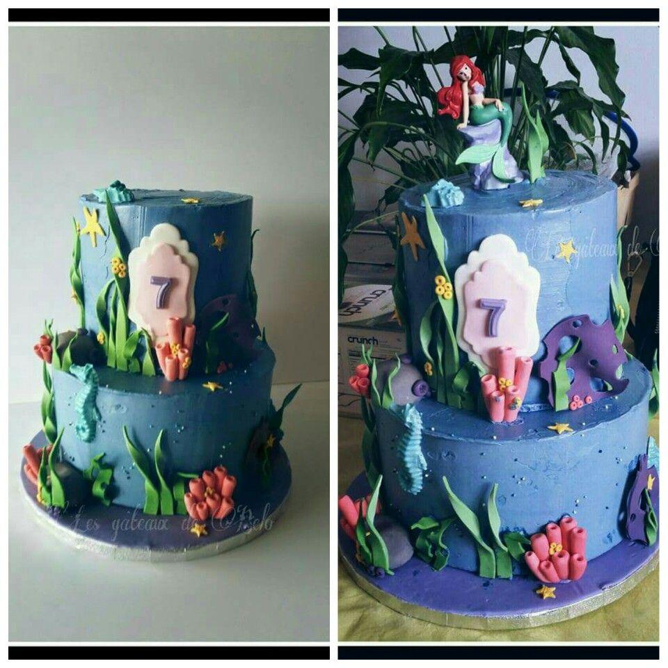 Gâteau d'anniversaire  Ariel la petite sirène crème au beurre et décoration en pâte à sucre  Mermaid birthday cake for a under the sea birthday party, buttercream and fondant accents