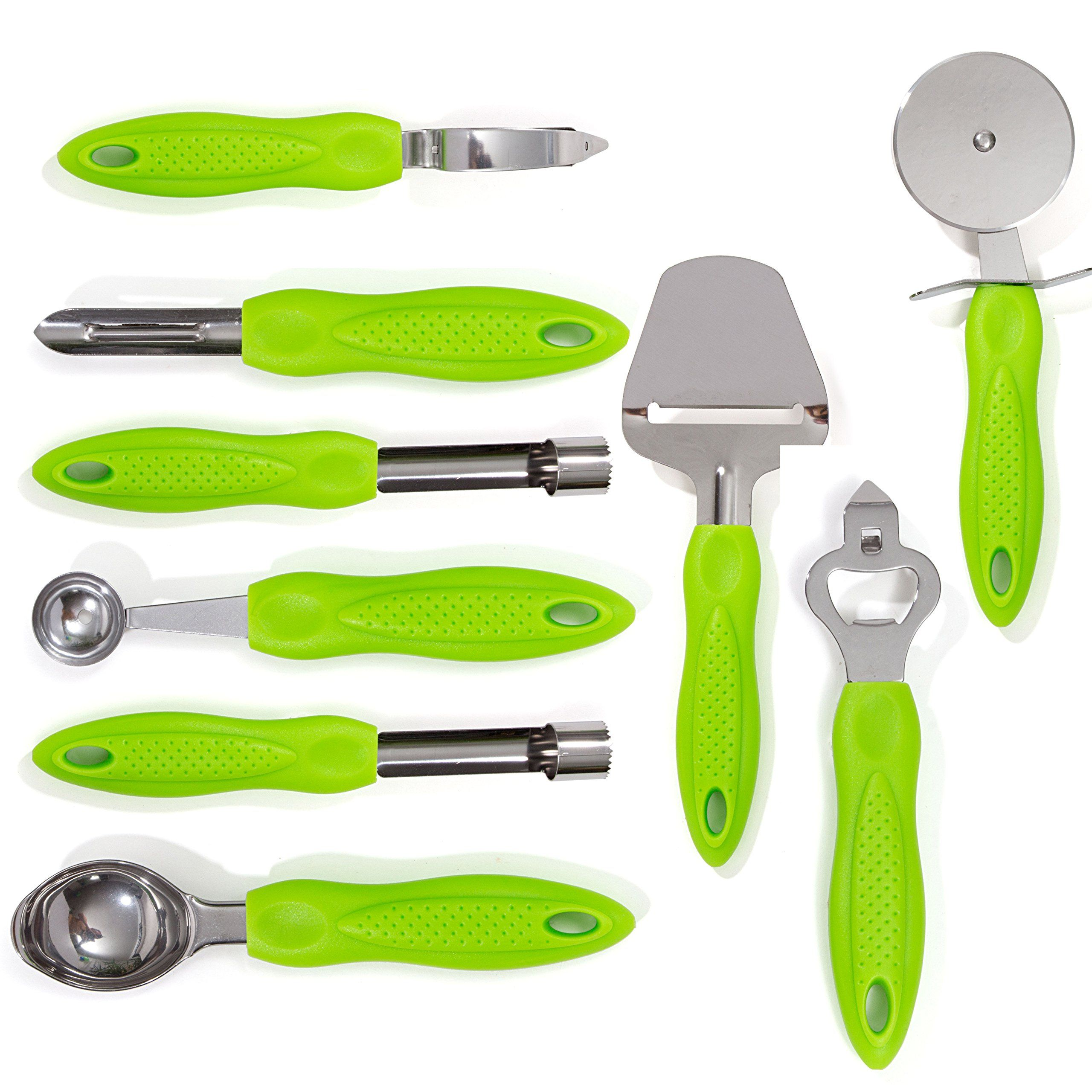 Hullr 9piece Stainless Steel Kitchen Gadgets Tools Set Pizza Cutter Can Opener Peeler Ice Cream Scoop Melon Stainless Steel Kitchen Kitchen Gadgets Utensil Set