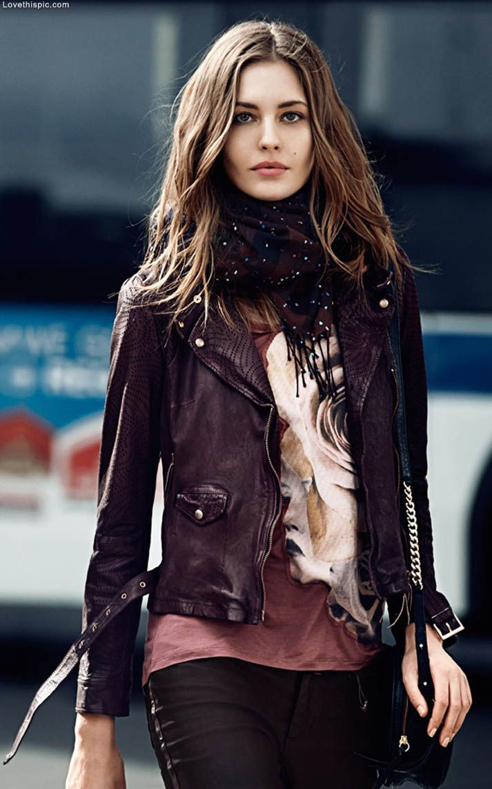 2014 urban fashion trends for women - Leather Fashion Jacket Leather Scarf Fashion Photography Womens Outfits 2014womens