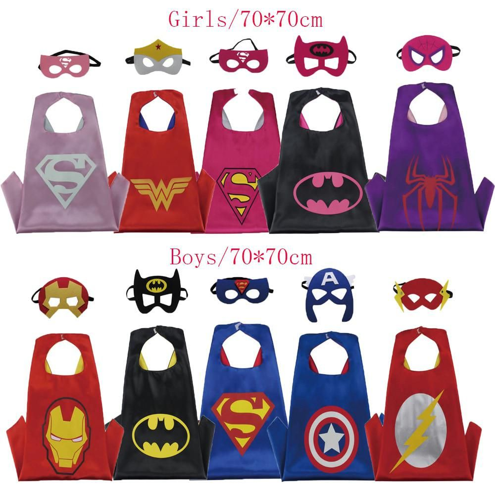 Kids Boys Girls Superhero Cape Fancy Dress Halloween Party Costume Hero Cosplay