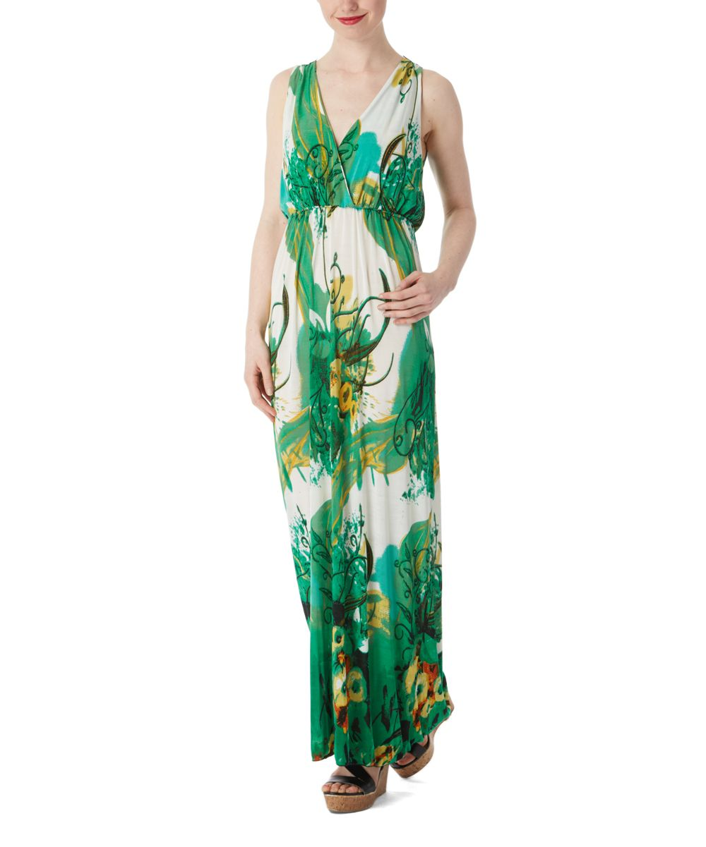 White u green floral silkblend vneck maxi dress discover more