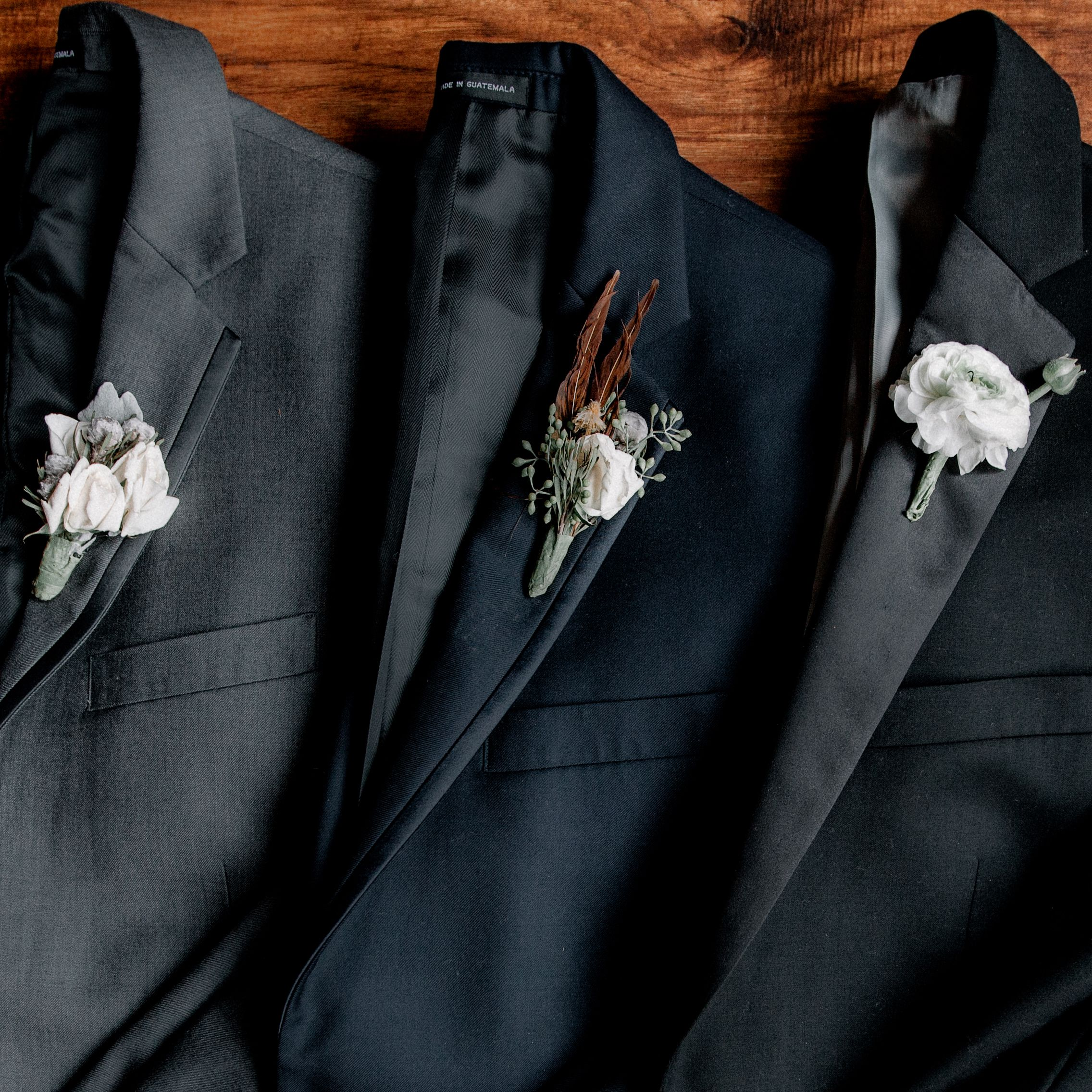 A stylish boutonniere helps signify how special the day is
