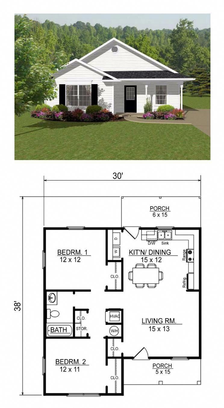 Open concept, two bedroom small house plan. [Other