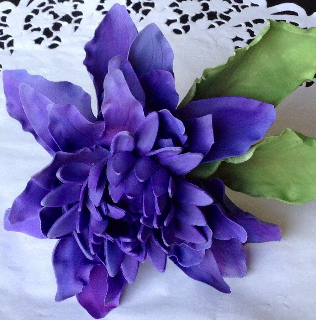 Custom sugar anniversary purple dahlia flower cake topper