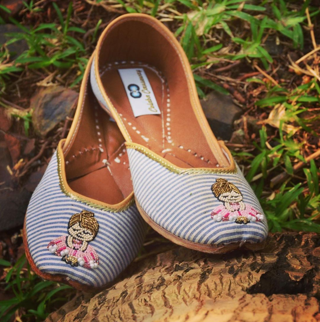 """and Funky.... One of our best selling juttis..Pair up your casual outfit with these super cute """"GIRL POWER""""doll embroidered juttis. For order Call us at +91-9833897009/+91-9769846460.  Photography credit- @sidh_14  Love, Colaba Causeway  powerCute and Funky.... One of our best..."""