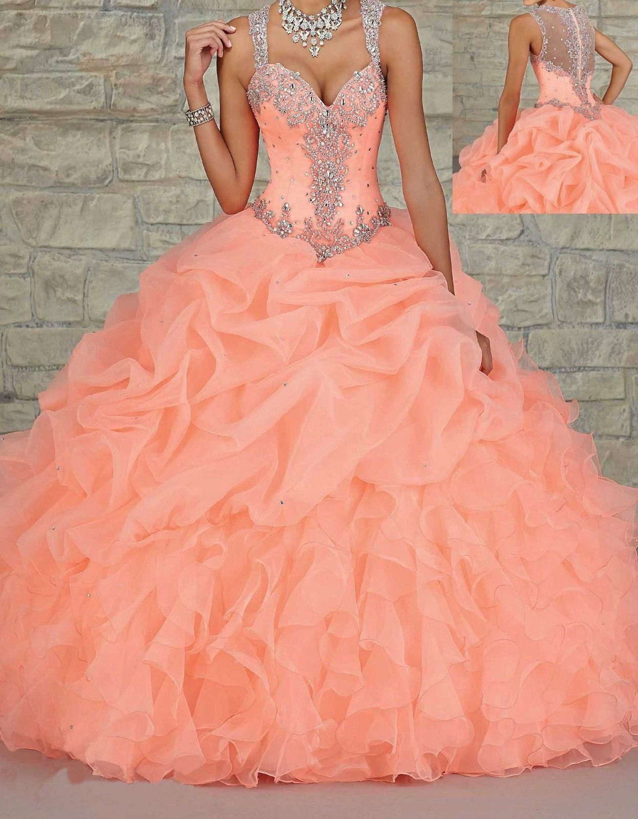 Custom Made 2015 Luxury Coral Quinceanera Dress Sexy Sweetheart Floor Length  Organza Crystal Beaded Long Prom Ball Gown Wedding Dresses Online with ... e343d1d89bb2