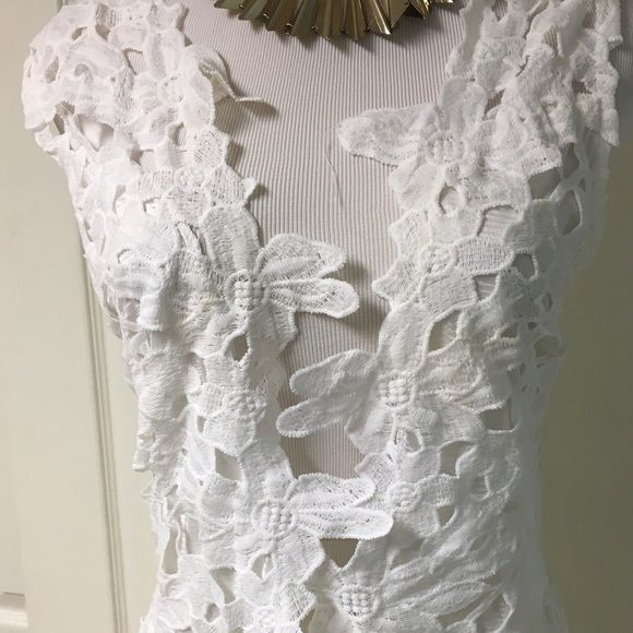 Sexy yet demure open front lace dress This dress is beautiful white cream color open front lace design sheer back with lace design and knee length. It work with a Bandeau  or a sexy bra. No tags but new. Dresses Mini