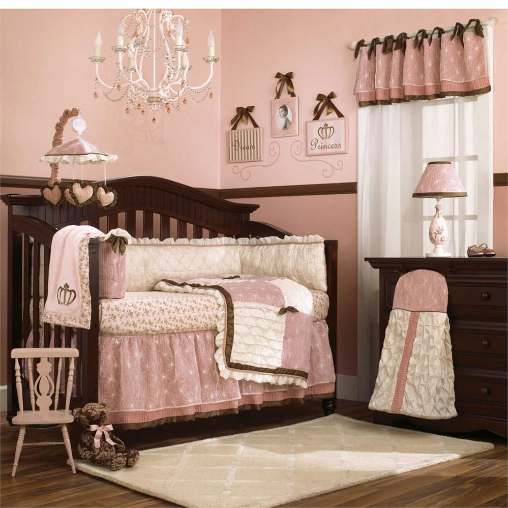Contemporary Baby Bedroom With Modern Girl Princess Crib Bedding Sets Luxurious Crystal Chandelier