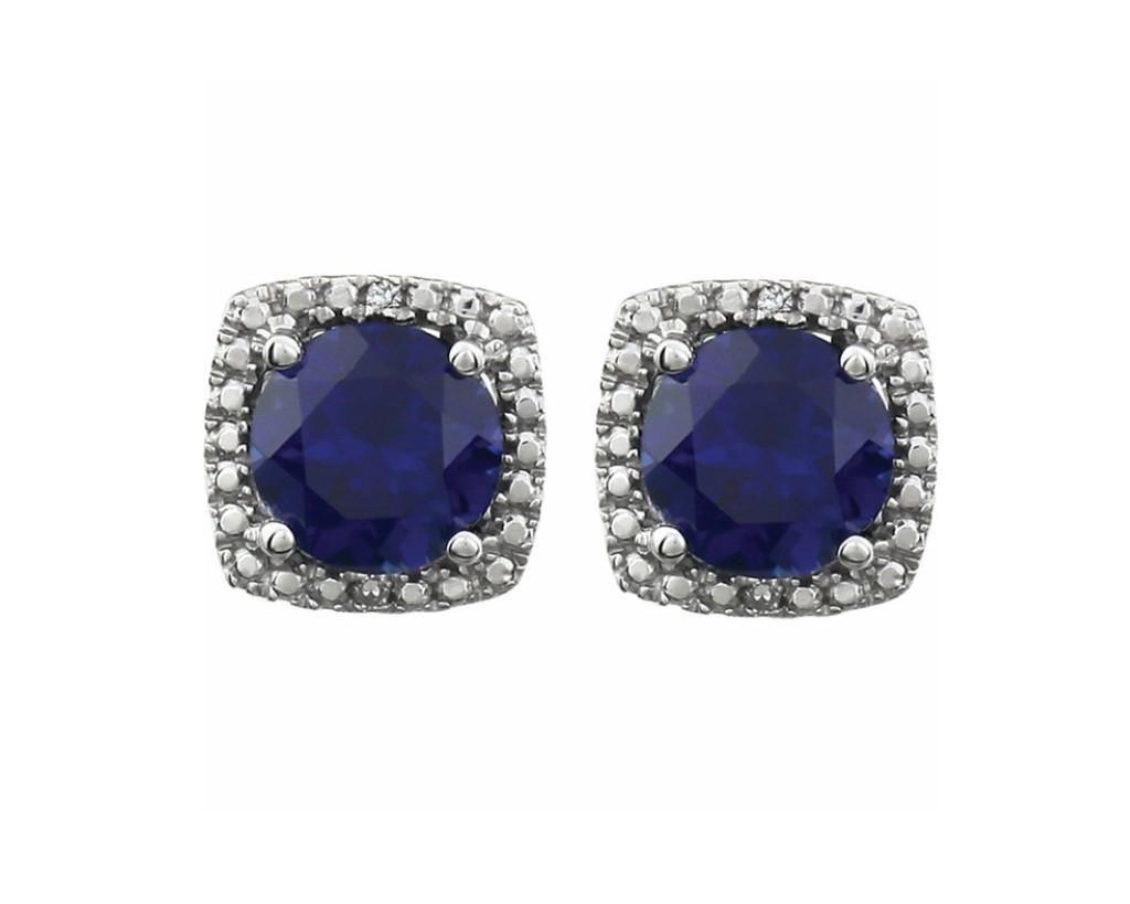 Sapphire Diamond Sterling Silver Square Halo Stud Earrings Sapphire Earrings Studs Sapphire And Diamond Earrings Blue Sapphire Jewelry