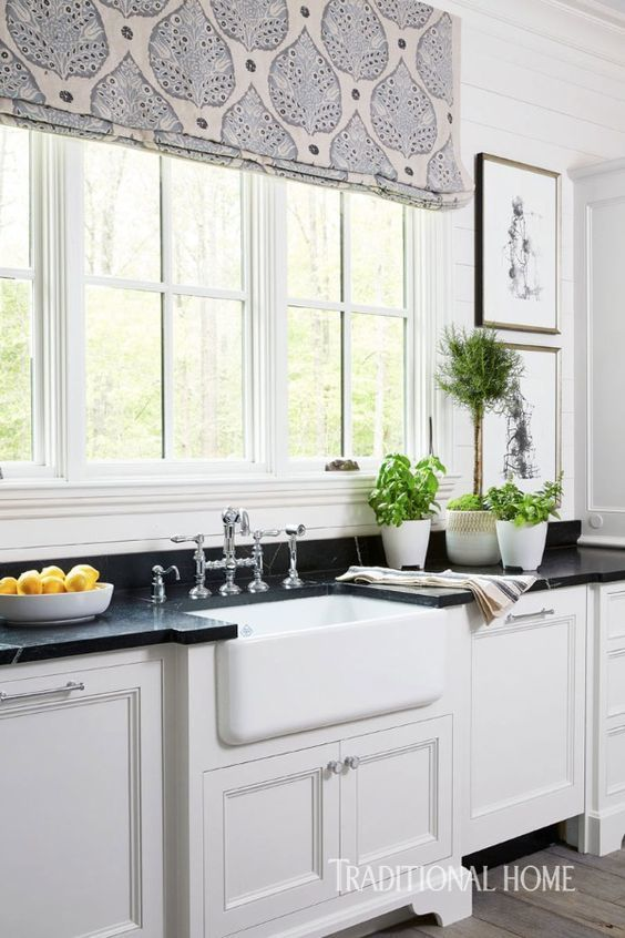 Galbraith Paul Roman Shades In Lotus Shown In Lotus Lapis On Logan Natural Linen Comes In Several Colors Roman Shades Kitchen Kitchen Window Treatments Home