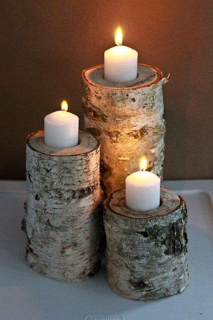 Do It Yourself Home Design: DIY Candle Holders From Birch Logs