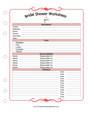 The Maid Of Honor Can Plan A Brides Bridal Shower And Delegate Responsibilities With This Printable Worksheet Free To Download Print