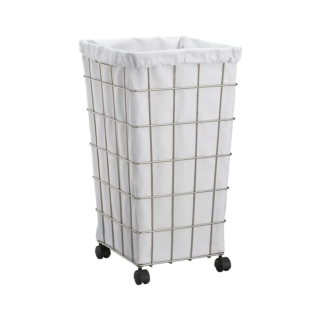 Hamper On Wheels Nickel Wire Hamper With White Liner Set Registry Wire