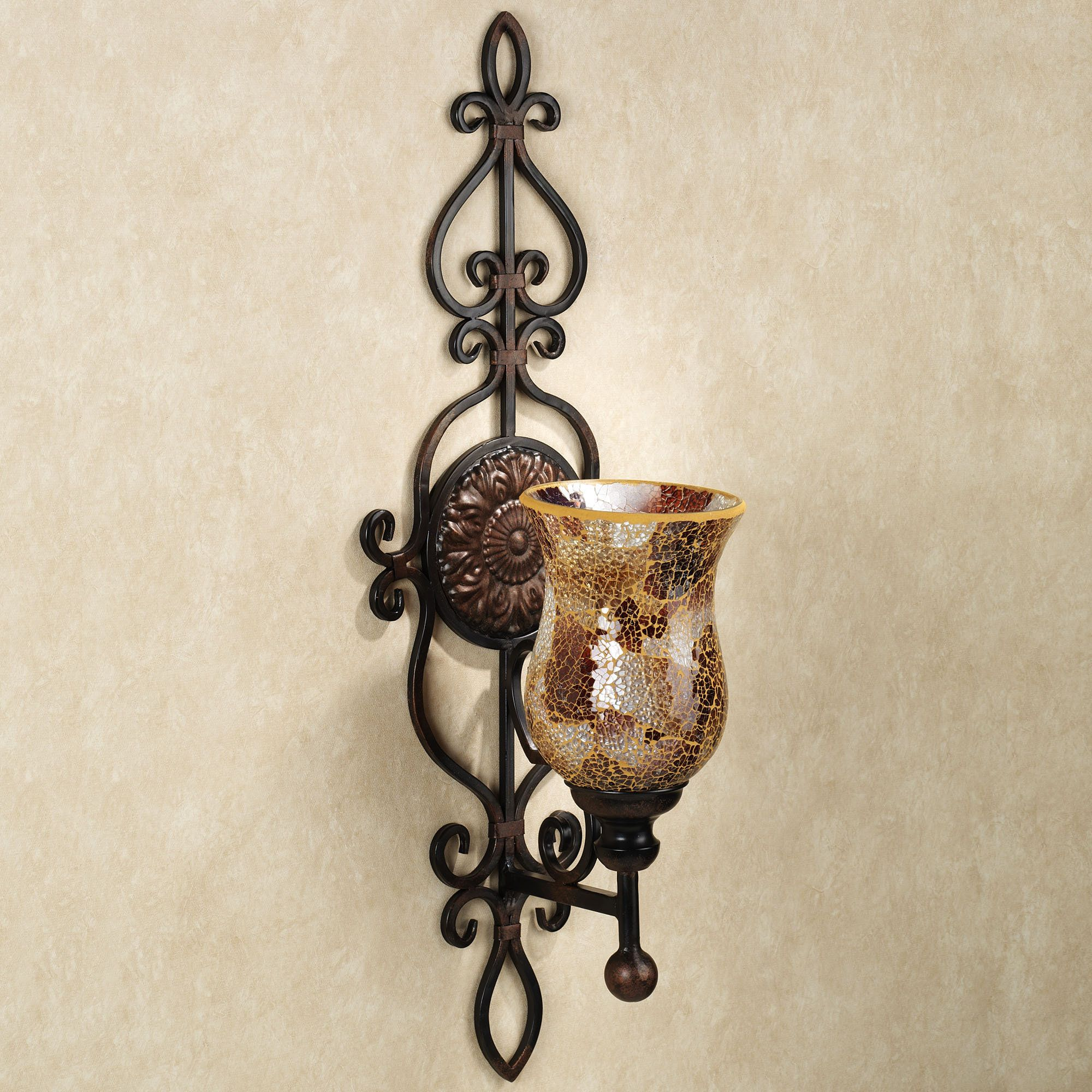 Leyanna Mosaic Aged Brown Wall Sconce Pair   Sconces, Iron ... on Decorative Wall Sconces Candle Holders Chrome id=45495