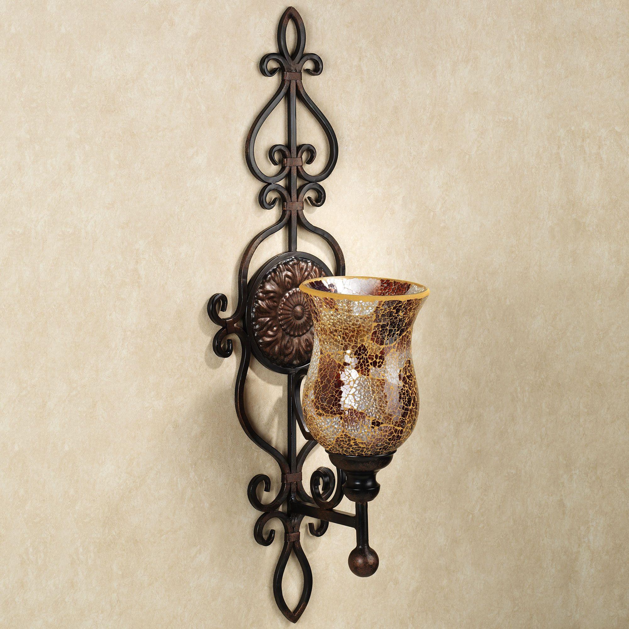 Leyanna Mosaic Aged Brown Wall Sconce Pair