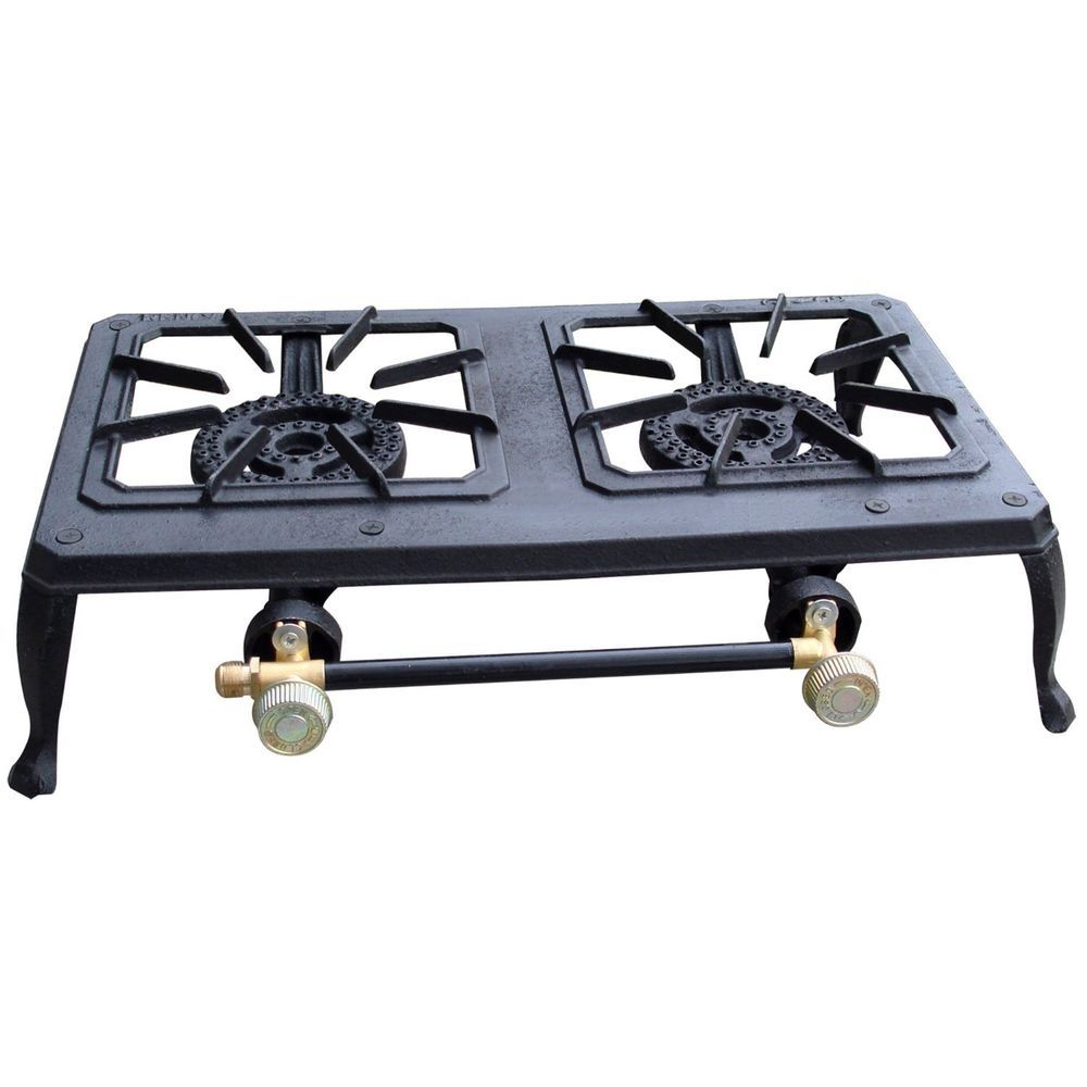 Camping Dual Gas Stove Portable 2 Cast Iron Burner Propane Outdoor Hunting Cook Propane Stove Double Burner Camping Stove