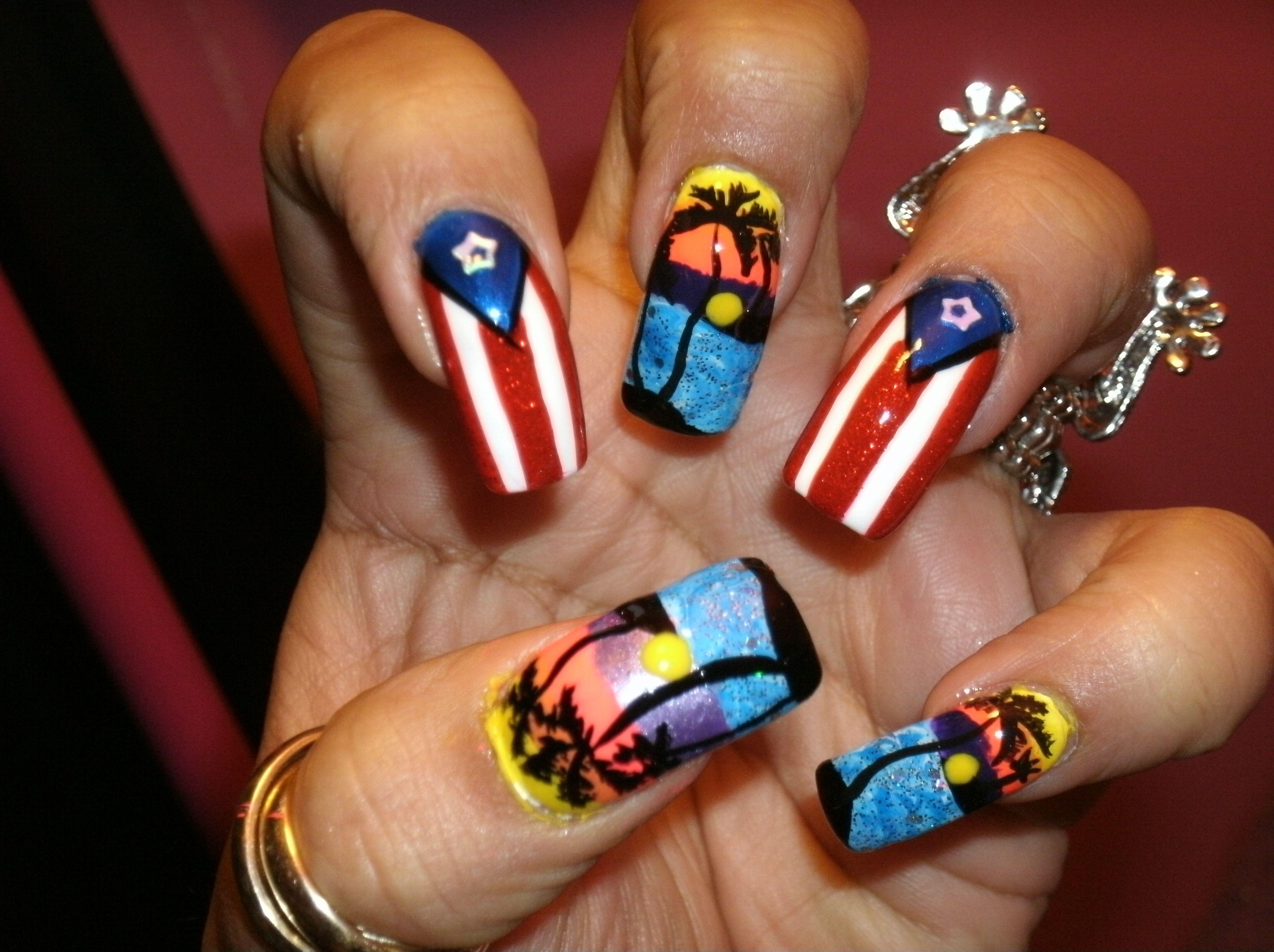 Boricua nail art design :)