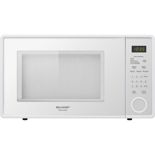Sharp 1 1 Cu Ft Mid Size Microwave White Front Zoom
