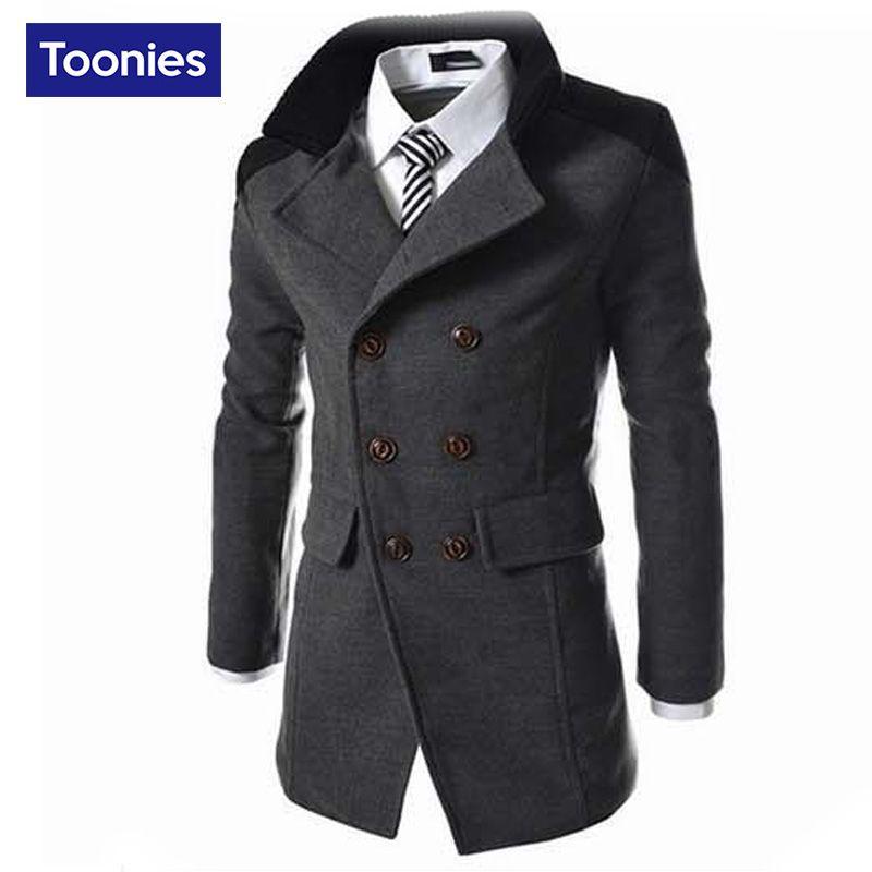 2017 Autumn Sobretudo Masculinos Preto Cool Mens Coats Overcoats ...