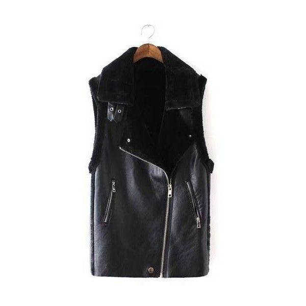 Yoins Leather-look Gilet with Faux Fur Collar ($64) ❤ liked on Polyvore featuring outerwear, vests, fake leather vest, gilet vest, zip vest, zipper vest and faux leather vest