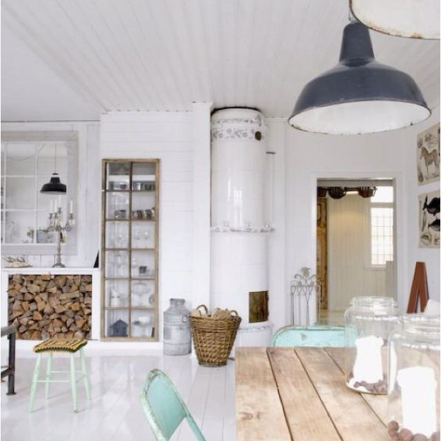 White wash, barn lights, wood...gorgeous. Thanks @ameliahawkins