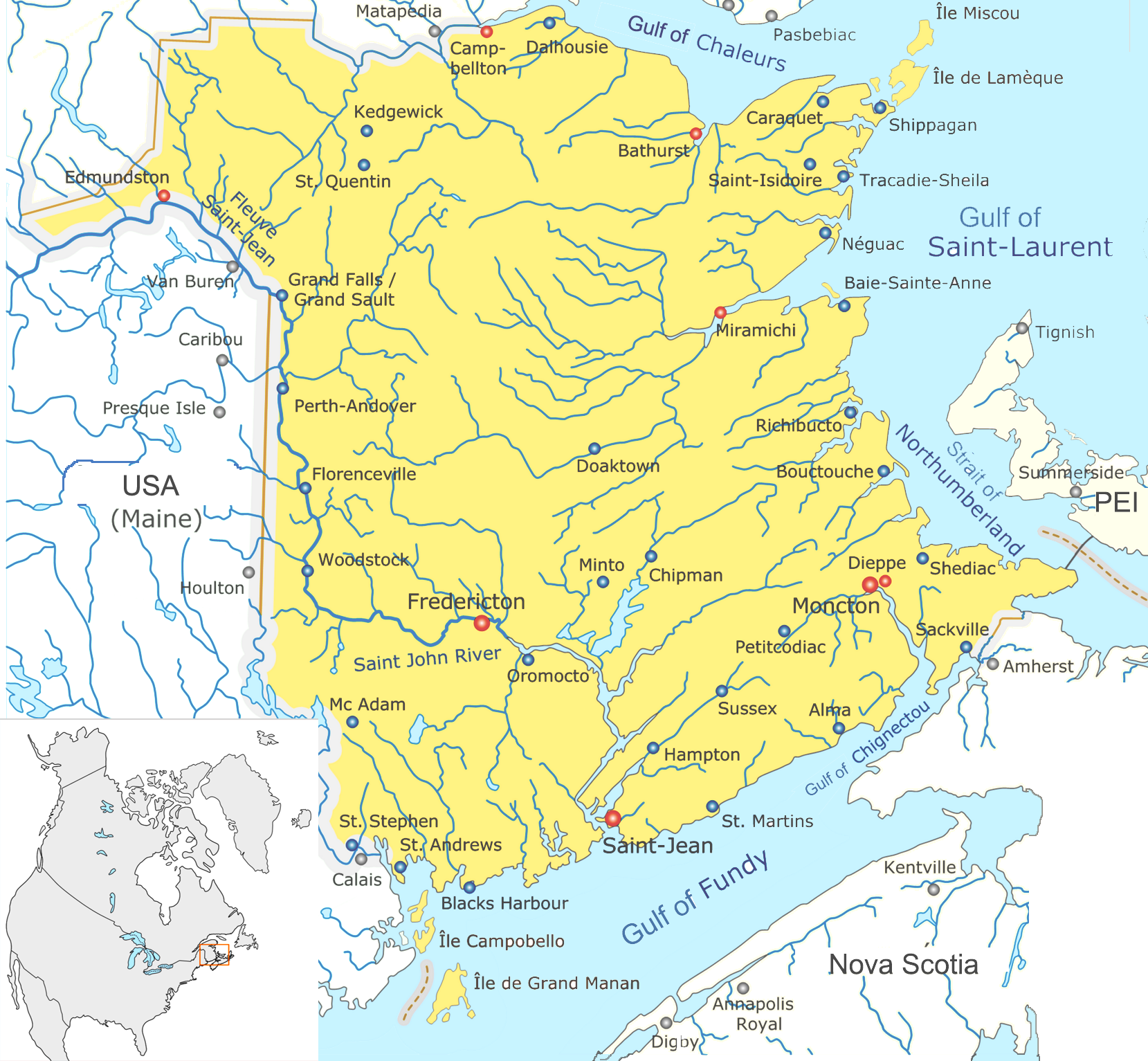 map of the province of new brunswick showing major cities