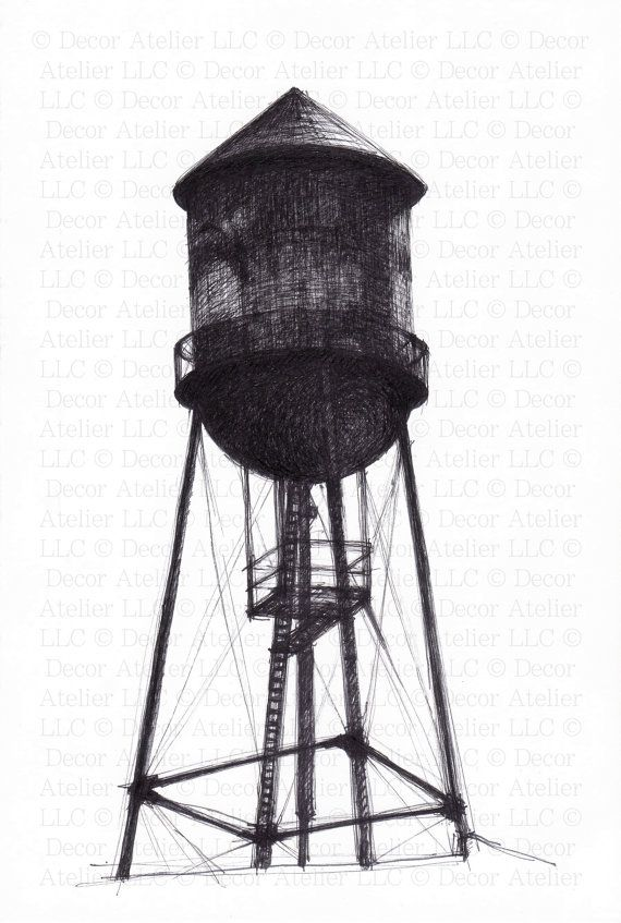 tower water tower drawing