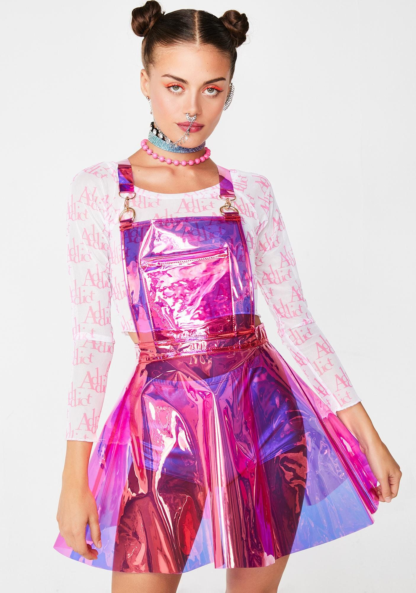 66172fee49c Club Exx Candy Gurl Hologram Overall Dress will have you walkin  on the  moon. Look like ur in outer space in this sikk hologram PVC overall dress  that has a ...
