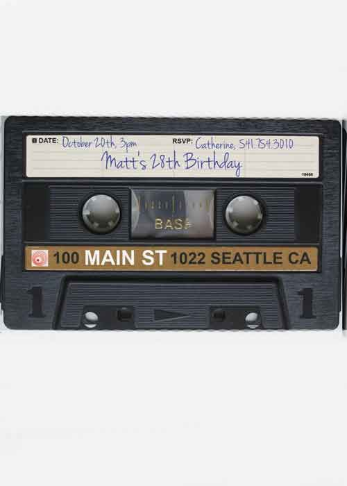 30th Birthday Party Invitation cassette tape Purple Rain Party