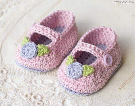 Crochet Pattern Mary Jane Rosebud Baby Booties Doll Patterns