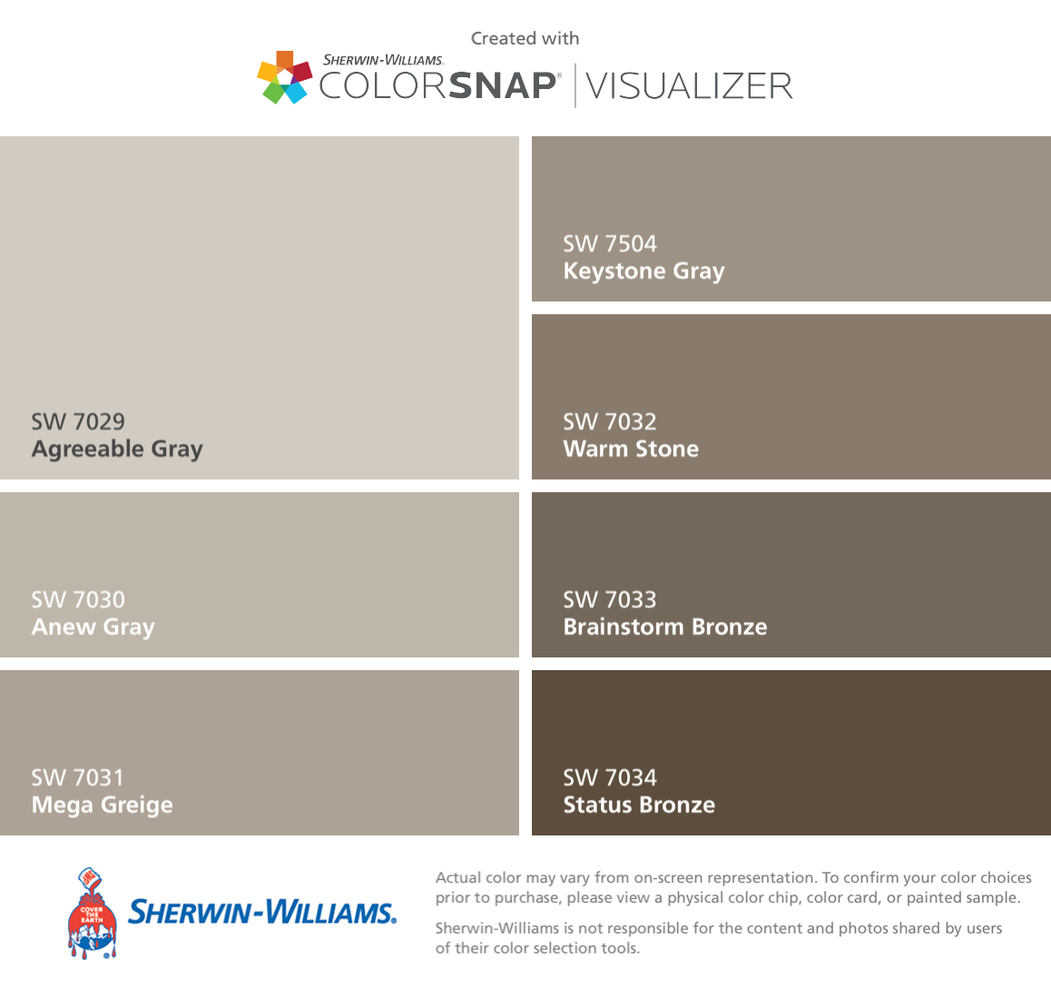 I Found These Colors With Colorsnap Visualizer For Iphone By Sherwin Williams Agreeable Gray
