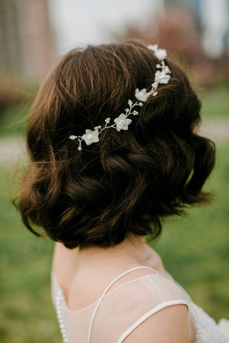 Short Curly Bridal Hairstyle With Headband  Wedding Hairstyle
