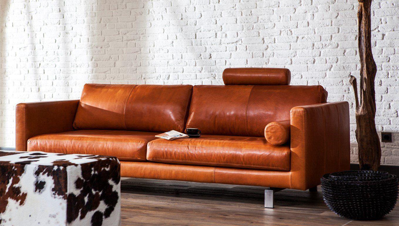 Bombarda Three Seater Cognac Leather Sofa Modern Furniture