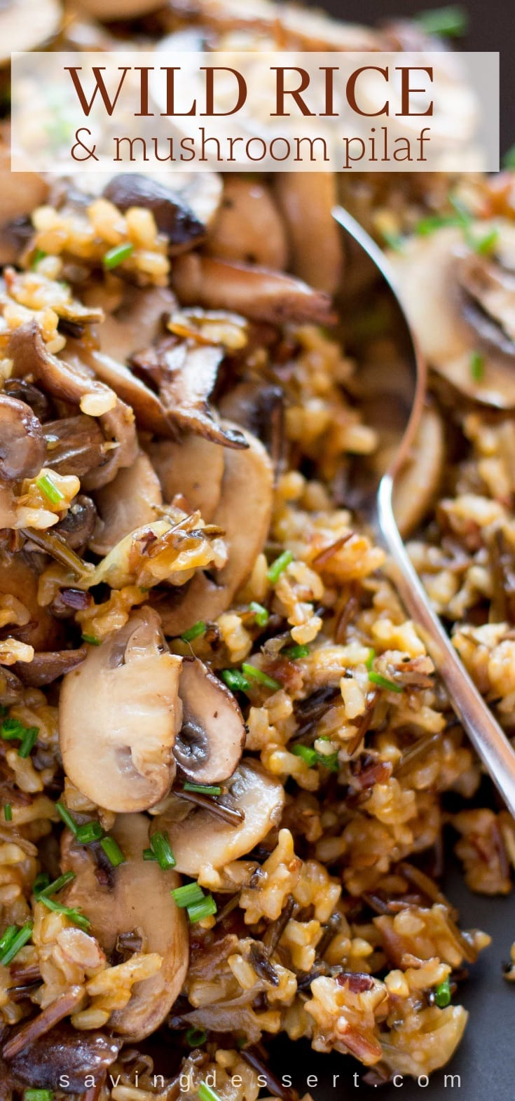 Wild Rice and Mushroom Pilaf -An easy and delicious make-ahead side dish loaded with a variety of mushrooms #wildrice #mushroom #ricepilaf #makeahead #sidedish #mushrooms #pilaf