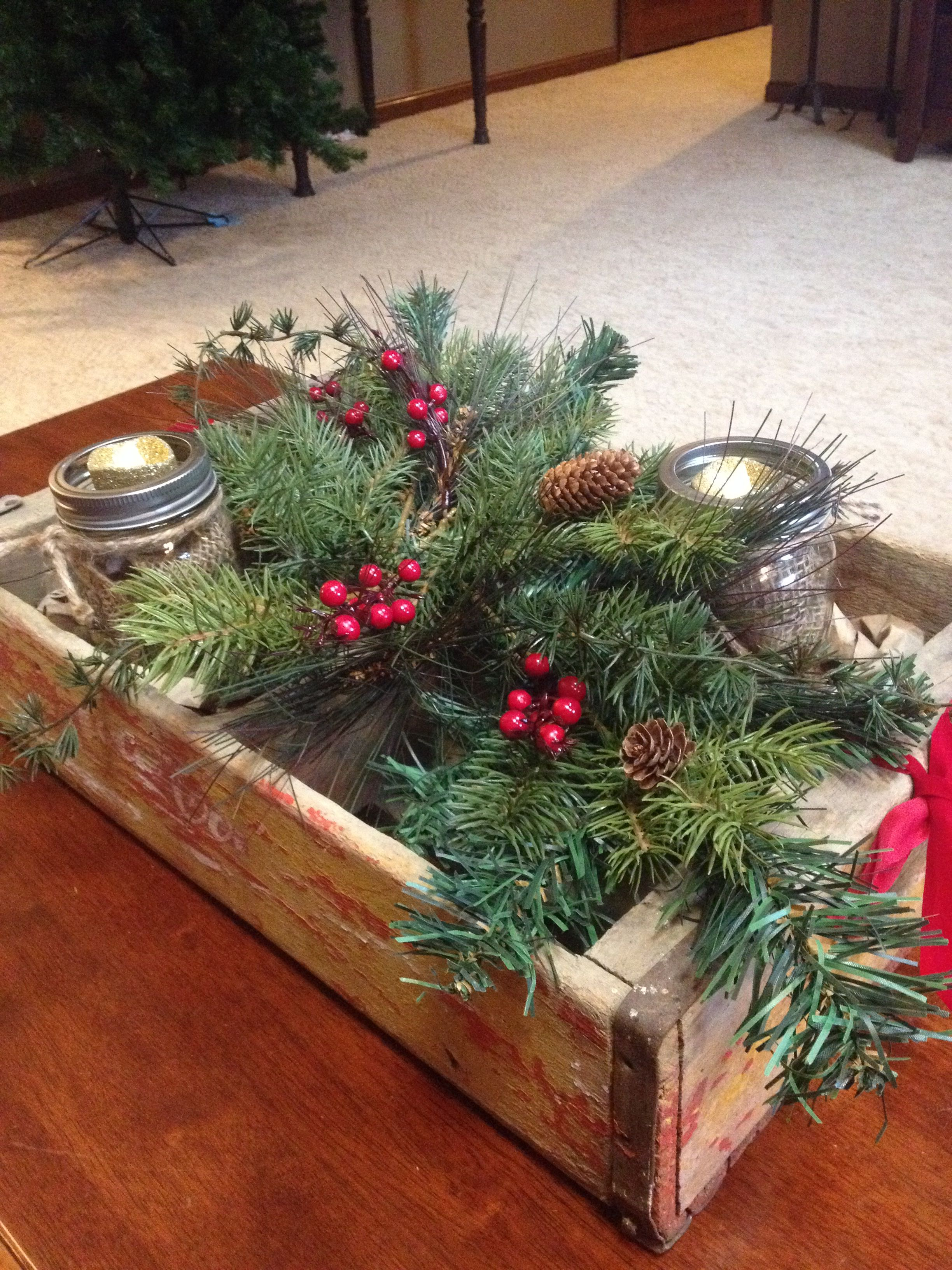 Rustic Christmas coffee table decor. | Christmas coffee ...