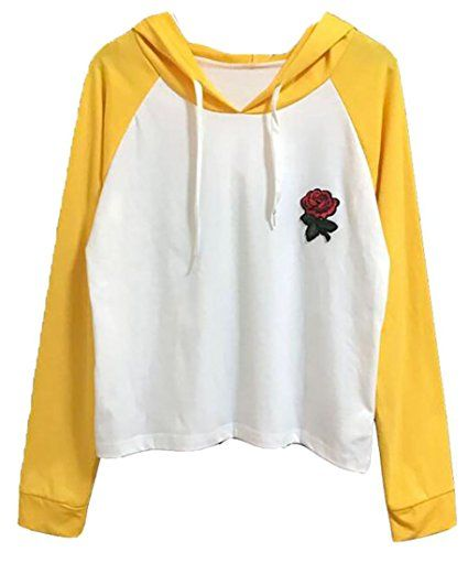 Yayu Womens Color Block Drawstring Letter Print Loose Hoodie Sweatshirt