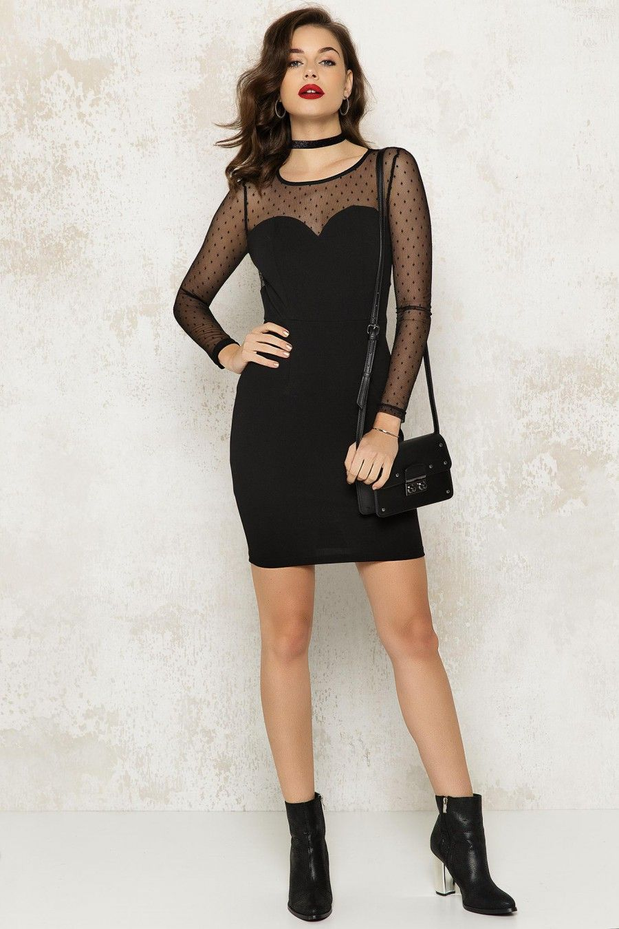 0513a6aa Loavies black dress with mesh sleeves | cute clothes | Dresses ...