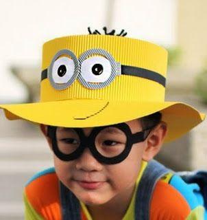 603b1c06a4e24 MANUALIDADES CARTON  GORRO MINION DE CARTON CORRUGADO Sombreros Originales