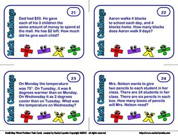 Math Word Problem Task Cards, Multi-Step Math Stories, Story