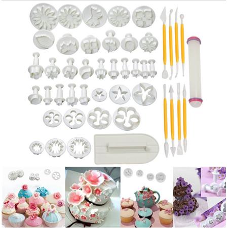 Flower Fondant Plunger Mould Icing Mold Cake Decorating Baking Biscuit 46pcs