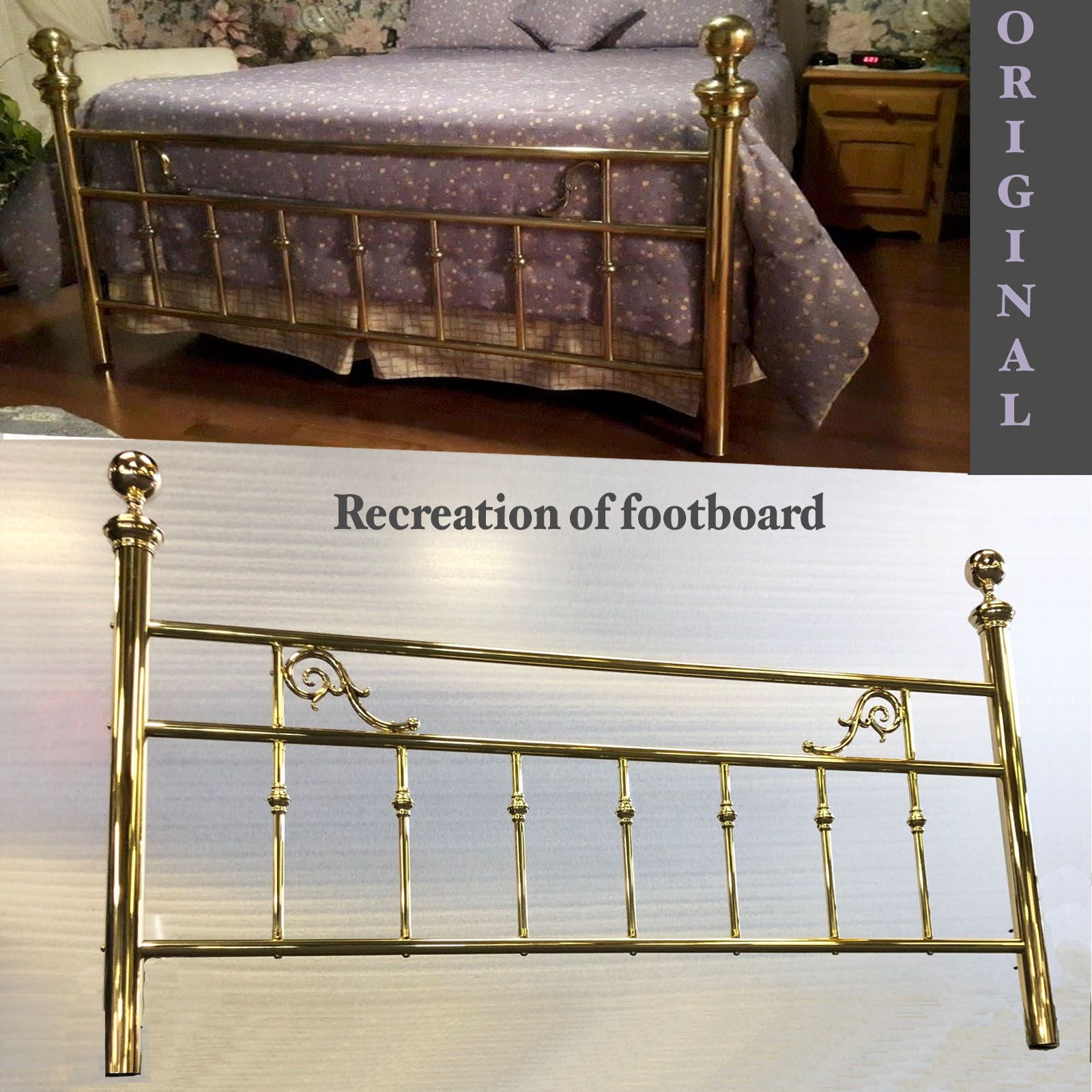 A Recreation Of A Customer S Antique Brass Bed Footboard Destroyed By Movers Brass Beds Of Virginia Does Custom Brass Restora Brass Bed Restoration Footboard