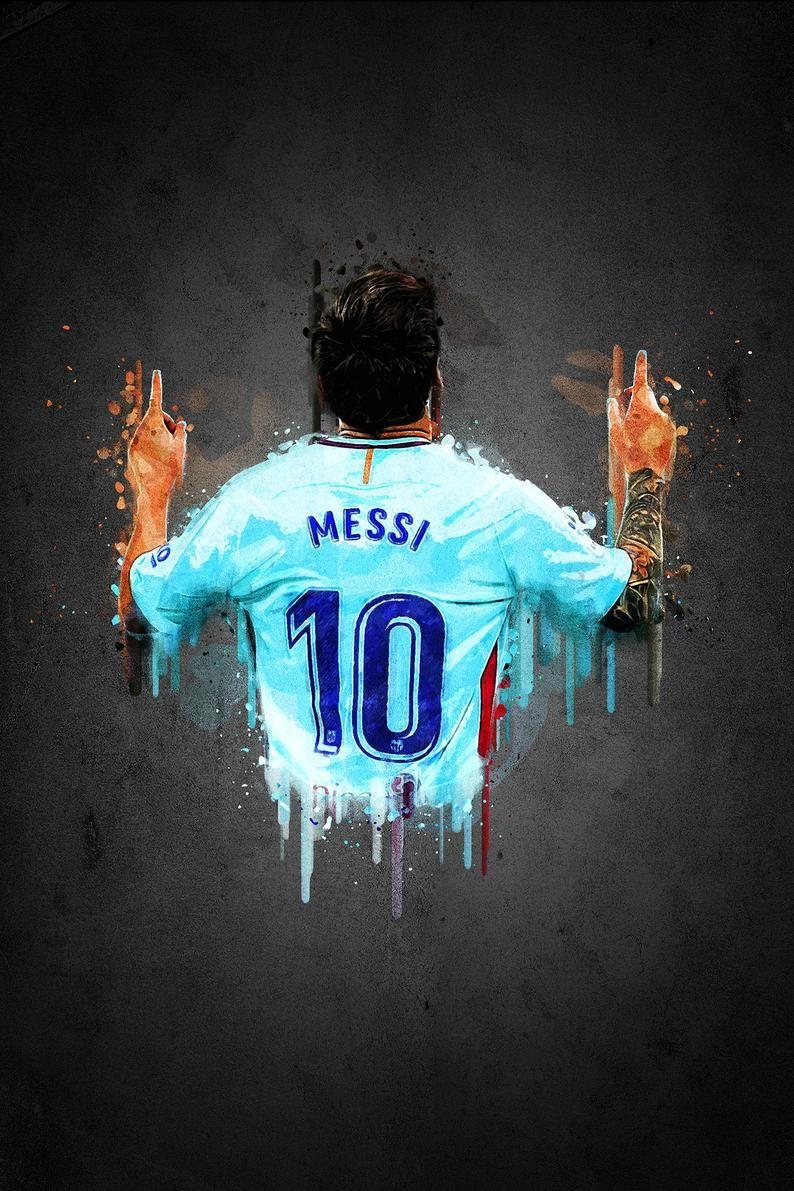 Lionel Messi Poster Football Art Print Sports Poster Minimalist Modern Art Minimalist Sports Print Messi Print Messi Poster