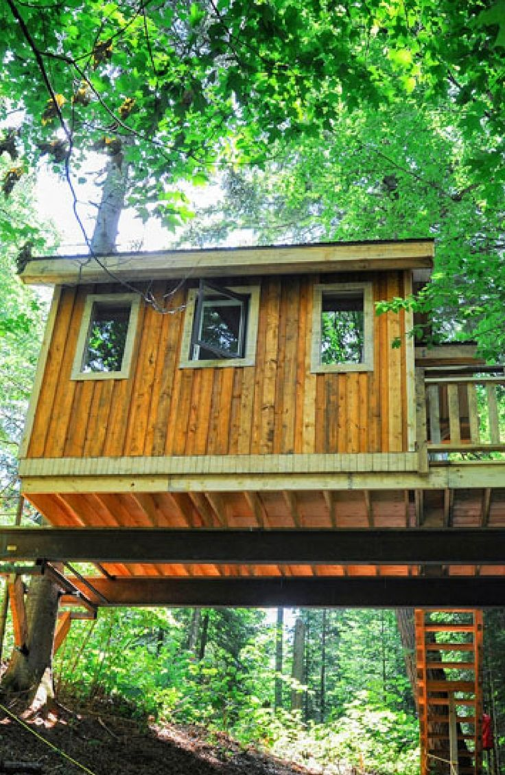 Check out this elegant tree house with lake views near Mont-Tremblant Ski Resort. This is sure to be the perfect spot for a relaxing vacation! : elegant-tree-houses - designwebi.com