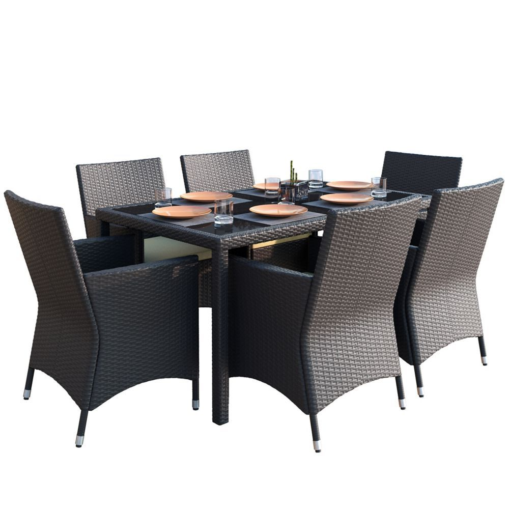 Sonax Ppt 605 Z Park Terrace 7pc Charcoal Black Weave Patio Dining Set Patio Dining Set Patio Dining Woven Dining Chairs