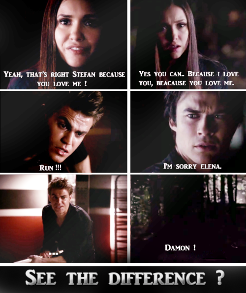 See!! Stefan could resist the compulsion, almost killed himself just so he wouldn't hurt Elena! But Damon couldn't, he couldn't do it because he doesn't have that epic bond with her, and he doesn't have a fraction of the self control Stefan does. THAT is why Stefan will always be Elena's epic love.