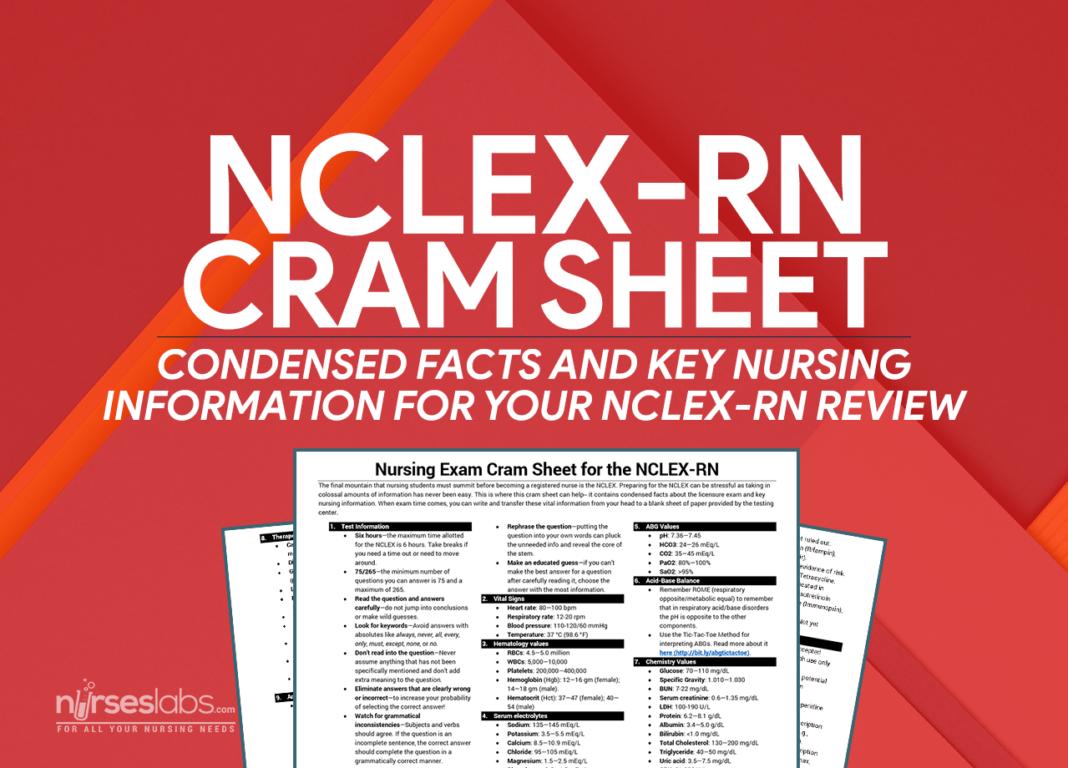 NCLEXRN Exam Cram Sheet (2019 Update) Nursing exam