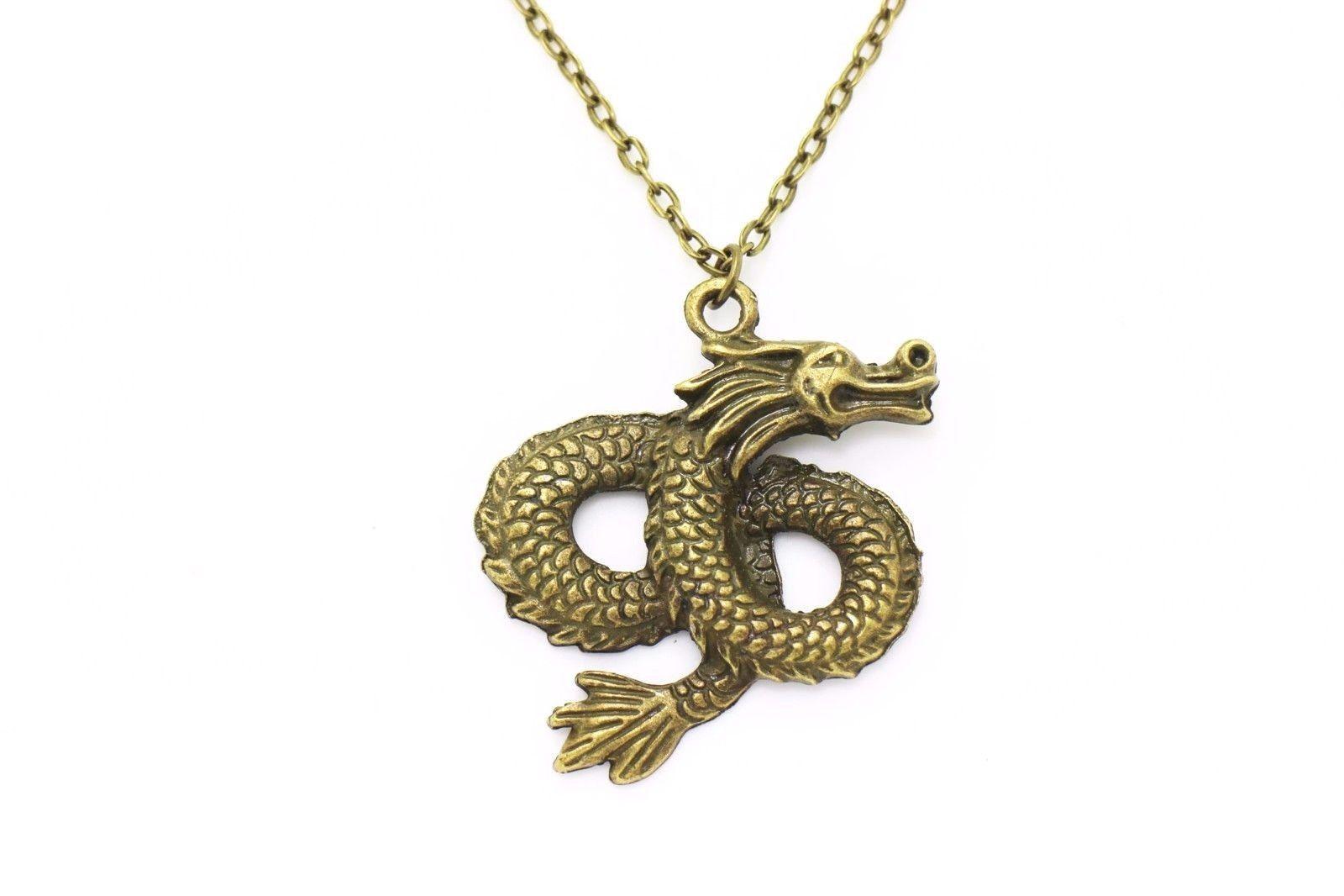Chinese dragon dangling earrings men necklace set large pendant