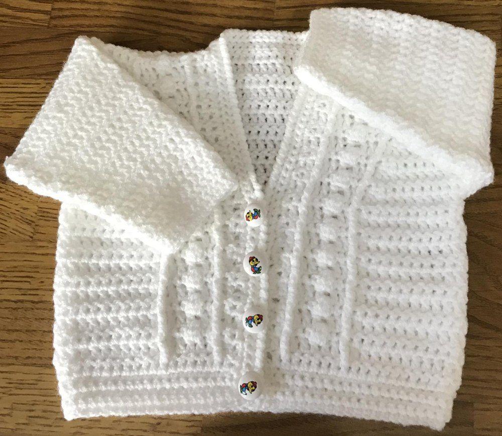 Simple Baby Cardigan | Baby Crochet Patterns | Pinterest | Tejido y ...