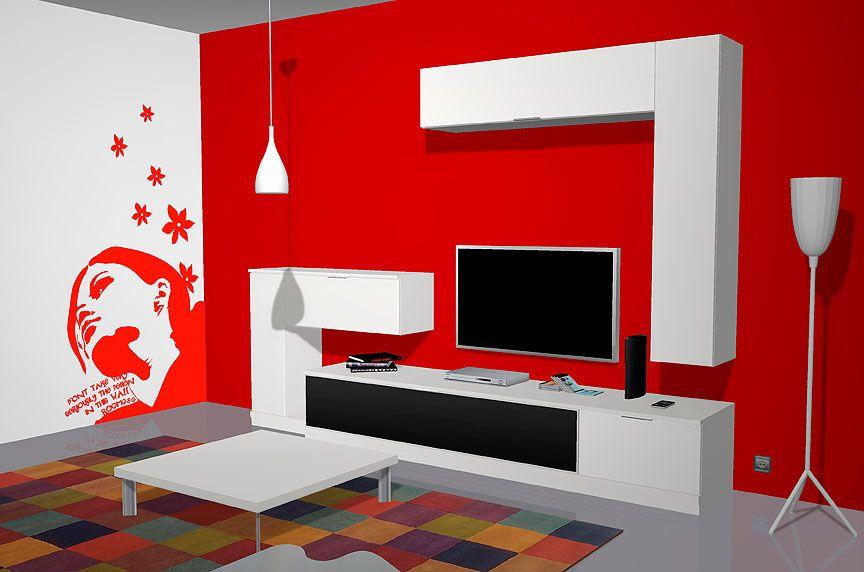 Muebles salón comedor con un vistoso vinilo en color rojo ...