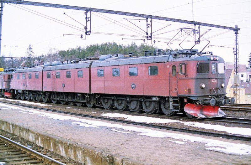 Giant Locomotive 1230 1244 1229 In Narvik Norway 21 04 1993 Narvik Locomotive Norway